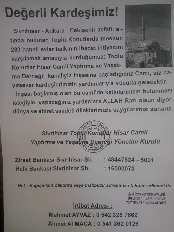 hisar cami ilan - Hisar Camii Yardımlarınızı Bekliyor