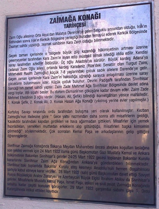 sivrihisar zaimoglu konak levha - Sivrihisar Zaimağa Konağı